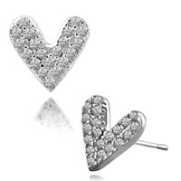 Earrings - silver plated heart april birthstone clear crystal earrings stud Image.