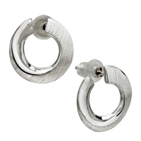 Earrings - sterling silver classic circle studded re earrings for fashion women Image.