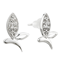 Earrings - fashion sterling silver butterfly' s wing crystal cz earrings re stud Image.