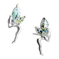 Earrings - april white clear silver plated fairy stud earrings lovely earrings Image.
