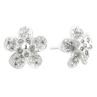 Earrings - sterling silver plum blossom dotted crystals earrings re stud Image.
