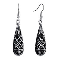 Earrings - fashion engraved grid dangle waterfall fish hook earrings for women Image.