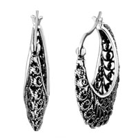 Earrings - filigree vintage antique hoop dangle earrings for women Image.