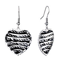 Earrings - silver heart heart shaped filigree vintage fish hook earrings for women Image.