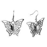Earrings - silver butterfly animal filigree vintage fish hook earrings for women Image.