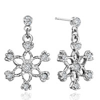 Earrings - xmas gift clear white crystal winter snowflake fish hook earrings Image.