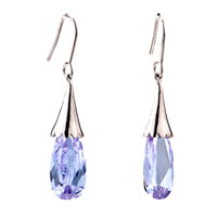 Earrings - purple crystal dangle fish hook earrings for women Image.