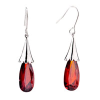 Earrings - red crystal dangle fish hook earrings for women Image.