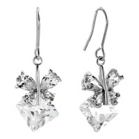 Earrings - april birthstone shinning butterfly crystal dangle earrings Image.