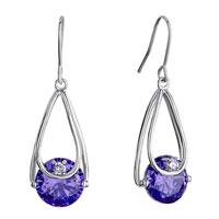 Earrings - metal drop tanzanite purple rhinestone swarovski crystal round dangle fish hook earrings Image.