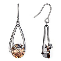 Earrings - stunning ring dangle topaz crystal fish hook earrings for women Image.