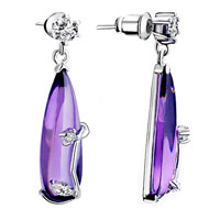 Earrings - beautiful purple drop dangle against crystal earrings Image.