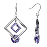 Earrings - elegant double hollow square crystal february birthstone dangle earrings gift Image.