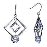 Earrings - elegant double hollow square crystal april birthstone dangle fish hook earrings gift Image.