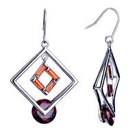 Earrings - elegant double hollow square crystal january birthstone dangle fish hook earrings gift Image.
