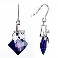 Earrings - elegant bow dangle purple february birthstone crystal fish hook earrings gift Image.
