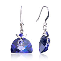 Earrings - elegant september birthstone sapphire semicircle crystal dangle fish hook earrings Image.