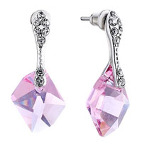 Earrings - beautiful pink crystal dangle earrings jewelry fashion october Image.