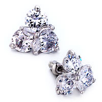 Earrings - 3  petals pure crystal floral stud earrings Image.