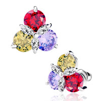 Earrings - colorful crystal triple petal flower stud earrings Image.