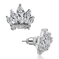 Earrings - white crown april birthstone kingsstud earrings Image.
