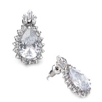 Earrings - white tear drop april birthstone earrings Image.