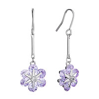 Earrings - lovely pale purple flower february birthstone dangle crystal fish hook earrings Image.