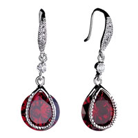 Earrings - beautiful red drop dangle crystal earrings Image.