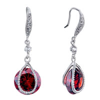 Earrings - metal red clear swarovski crystal dangle july birthstone light siam round drop earrings Image.