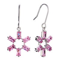Earrings - pink crystal flower october birthstone dangle fish hook earrings gift jewelry fashion Image.