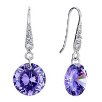 Earrings - metal clear purple swarovski crystal dangle february birthstone tanzanite round earrings Image.