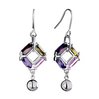 Earrings - 4  crystal rhombus dangle fish hook earrings Image.