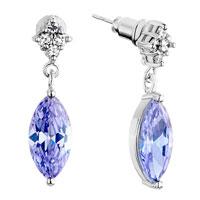 Earrings - rhombus clear light purple swarovski crystal dangle june birthstone light amethyst oval earrings Image.