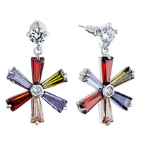 Earrings - clear swarovski crystal round dangle colorful rhinestone flower earrings Image.