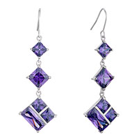 Earrings - different sized square february birthstone purple swarovski crystal dangle fish hook earrings Image.