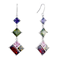 Earrings - different sized square colored rhinestone swarovski crystal dangle earrings Image.