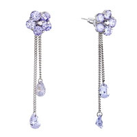 Earrings - june birthstone light amethyst swarovski crystal flower dangle double drops earrings Image.