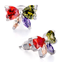 Earrings - butterfly colorful rhinestone swarovski crystal stud earrings Image.
