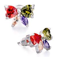 Earrings - butterfly colorful rhinestone swarovski crystal stud earrings Image.