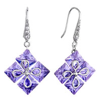 Earrings - light ametyst purple crystal flower square dangle fish hook earrings Image.