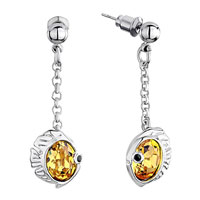 Earrings - chain dangle fish oval november birthstone light topaz yellow swarovski crystal earrings Image.