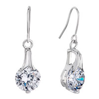 Earrings - silve april birthstone clear white swarovski crystal round dangle fish hook earrings Image.
