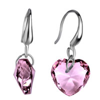 Earrings - elegant october birthstone pink heart crystal dangle earrings Image.