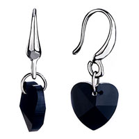 Earrings - elegant black heart dangle crystal earrings Image.