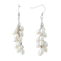Earrings - white pearl drop dangle fish hook earrings Image.