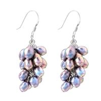 Earrings - purple pearl drop dangle fish hook earrings Image.