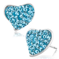 Earrings - heart stud earrings aquamarine blue cz crystal stud earrings Image.
