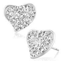 Earrings - heart stud earrings clear white cz crystal stud earrings Image.