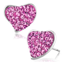 Earrings - heart stud earrings rose pink cz crystal stud earrings Image.