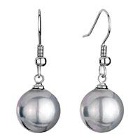 Earrings - 12  mm gray shell beads ball dangle fish hook earrings Image.